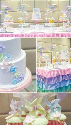 Pastel pinwheel themed birthday party with SO many ideas! Via Kara's Party Ideas KarasPartyIdeas.com #pastel #rainbow #birthday #pinwheel #party
