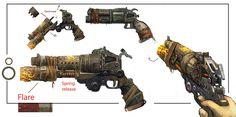 Bulletstorm Weapon Concept art by JohnMcCambridge on DeviantArt Steampunk Weapons, Sci Fi Weapons, Weapon Concept Art, Weapons Guns, Fantasy Weapons, Surface Modeling, Wasteland Weekend, Art Google, Deviantart