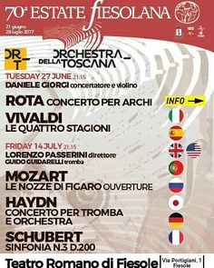 Would you like to spend a magical evening inside a Roman amphitheater listening to wonderful classical on the hills of Don't miss the wonderful concert by Orchestra della Toscana in Fiesole, July July 14th, Classical Music, Nightlife, Live Music, Orchestra, Florence, Roman, Tips, Florence Italy