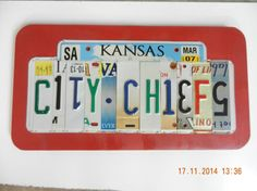 Kansas City Chiefs License Plate Sign by TreasuredSunsets on Etsy