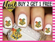 60 Nail Decals - HARRY Potter Hogswart Crest- Gryffindor Hufflepuff Ravenclaw Slytherin - Nail Art by ThePunkyPanda on Etsy