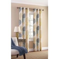 Mainstays Hanging Medallion Grommet Curtain Panels, Set of 2