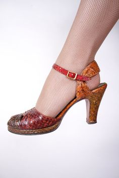 Vintage 1940s Shoes   Incredible Four Color Snakeskin by FabGabs, $98.00