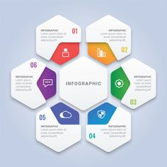 Modern 3d infographic template with a six options for workflow layout, diagram, annual report, web design Premium Vector