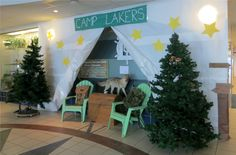 This is a portion of the lobby at Laker Elementary, decked out for the March is Reading Month theme of camping! Camp Out with a Good Book!