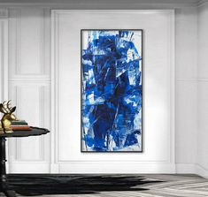 original abstract painting blue white contemporary modern