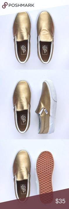 New Metallic Slip-On Never been worn, smooth metallic and pebbled metallic leather. W/O box. Women's size 7 / Men's size 5.5 Vans Shoes Sneakers