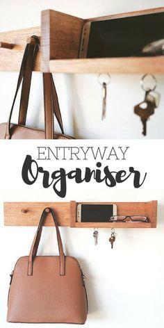 Entryway Organiser - Shelf storage Wall coat rack Key Holder Mail Organiser Entryway Shelf Coat rack magnetic key holder Floating Shelf. #home #organisation #decor #affiliate