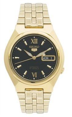 Montre Homme Seiko 5 SNK324K1, bracelet et boîtier acier dorés, cadran noir, mouvement automatique 7S26.