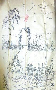 CRINOLINE LADY in GARDEN – vintage transfer