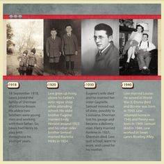 Lewis Brown's Timeline ~ Scrap the progression of an ancestor's life with a heritage photo time line page! In this simple layout the timeline is from the dated photos through the years at the top. Below each photo, approximate to the decade, list the highlights of the ancestor's life in that time period. You could also include major historical events such as a war or the death of a President that impacted their life. This type of documentation is much easier to write than traditional…