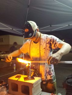 Willy blowing glass pendents at The Hazy Hideaway in Cedar Rapids Iowa