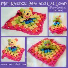 Mini Rainbow Bear and Cat Lovey {Free Crochet Pattern}