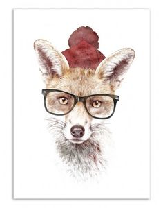 Art-Poster and prints Wall Editions : Hipster Fox, by Robert Farkas. Illustration Format : 50 x 70 cm