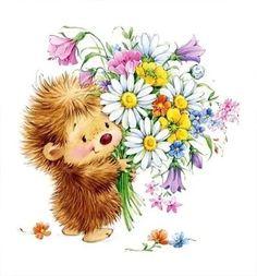 Illustration hedge hog holding flowers just for you