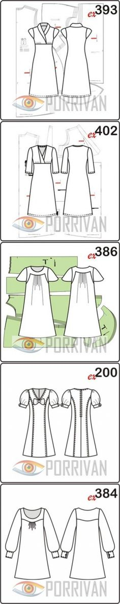 Выкройки платьев. 352 готовые и бесплатные выкройки - Porrivan
