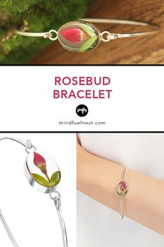 Rosebud Flower Bangle Bracelet - Feminine, romantic, exquisite: you'll love this sterling bracelet, featuring a tiny red rose perfectly preserved for all time. Red roses represent passion and romance, making this a lovely gift for a special someone.Its little bud is just like your love: unfading and everlasting! Silver Bangles, Sterling Silver Bracelets, Bangle Bracelets, Little Buds, Meaningful Jewelry, Rose Buds, Red Roses, Romance, Feminine