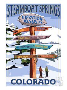 Steamboat Springs, Colorado - Ski Run Signpost Premium Giclee Print by Lantern Press at Art.com
