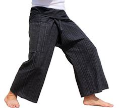 RaanPahMuang Brand Light Striped Cotton Thailand Fisherman Wrap Pants Medium Black -- Check this awesome product by going to the link at the image.(This is an Amazon affiliate link and I receive a commission for the sales)