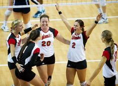 Nebraska volleyball players (L-R) Gina Mancuso (7), Lara Dykstra (1), Meghan Haggerty (20), Lauren Cook (2), and Morgan Broekhuis (12) celebrate taking the lead in the fourth set against Penn State at the Nebraska Coliseum on Sunday, Oct. 28, 2012. Nebraska defeated Penn State in five sets. The finals scores were 12-25, 32-30, 19-25, 25-23, 15-10.