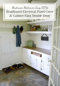 10 great cover for electrical panel images diy ideas for homediy beadboard electrical panel cover \u0026 cabinet faux double door