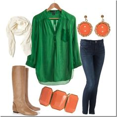 Green & orange, love the colors,..just not so much the skinny jeans,..more stretchy!! LOL