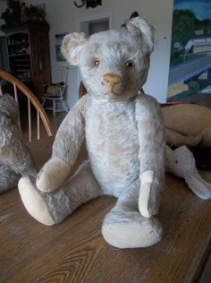 "Antique  20""  BING  ? White  Mohair Teddy Bear Excelsior Stuffed Elongated Snout"