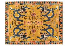 "Antique Chinese Dragon Rug, 4'10"" x 6'5"""