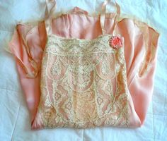 antique 1920 peach/pink lace flapper lingerie tulle lace trim ribbonwork ruffle | eBay