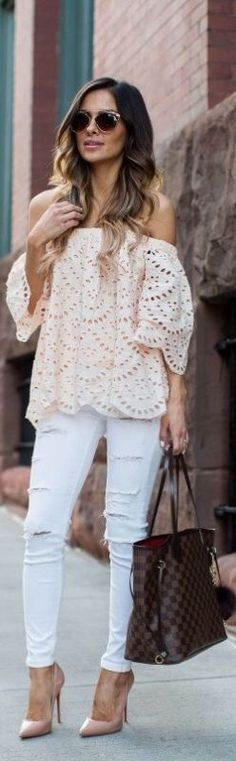 Off the shoulder eyelet top.