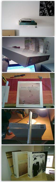 El libro flotante. Cómo hacer un estante simulando un libro suspendido de la pared.