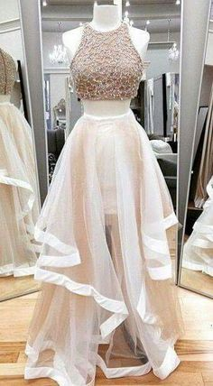 Jewel Neck Ivory Two Piece Prom Dress, Sparkling Beaded Floor Length Tulle Prom Dress, Elegant A-line Crop Top Sleeveless Prom Dress, from Dressesofgirl Girls Evening Dresses, Prom Dresses Two Piece, Hoco Dresses, Tulle Prom Dress, Prom Party Dresses, Dance Dresses, Pretty Dresses, Homecoming Dresses, Evening Gowns