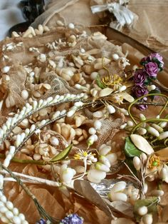 antique wax flowers and wedding tiaras