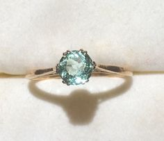 Vintage Aquamarine Ring in a 9k Yellow Gold. 0.75 Ct Round Aquamarine. Unique Engagement Ring. March Birthstone. 19th Anniversary Stone. #gold