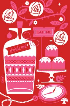 Totally Alice! There is something so tempting about this limited colour palette illustration by Katie Kirk