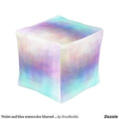 Violet and blue watercolor blurred pouf cube pouf