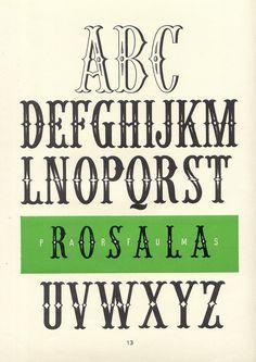 Rosala Parfums, vintage decorative alphabet, Album de lettres Arti (1949)