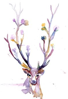 "Print of Original Watercolor Painting, Titled: ""Buck  Up"" by Jessica Buhman Deer 8 x 10 Pink Yellow Blue Brown Bla"