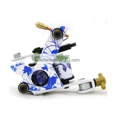 US$3.99 - Top Tattoo Machine Gun Blue and White Porcelain 8 Wrap Coils for shader Liner