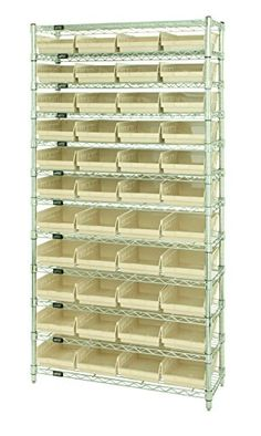 This shelving rack comes with slanted shelves and shelf bins. The bins will rest safely and securely on these slanted shelves.  sc 1 st  Pinterest & This shelving rack comes with slanted shelves and shelf bins. The ...