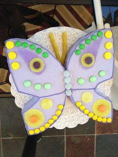 butterfly cake decorated with candy