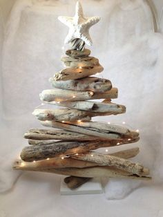 Handmade driftwood Christmas tree with lights