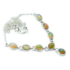 Incredible Sterling Silver Fire Ethiopian Opal Y-shaped Necklace - http://fashion.designerjewelrygalleria.com/special-offers/incredible-sterling-silver-fire-ethiopian-opal-y-shaped-necklace/