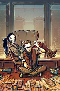 Holmes and Watson at work (art by theopteryx). #elementary Because while reading the books when I was younger I always pictured myself as Sherlock's partner; finally someone adapts the books to make Watson female and everybody is up in arms. I quite love it.