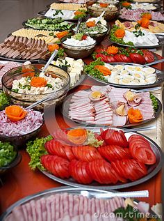 Array of different delicious food on buffet table.