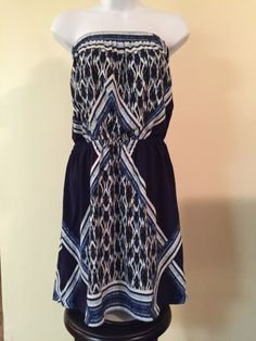 clothing-accessories: New WT Express Women's Dress Blue/white , Off Shoulder , Size M #Fashion - New WT Express Women's Dress Blue/white , Off Shoulder , Size M...