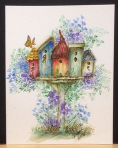 Painted Birdhouses draw no Wasps!