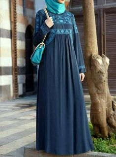 SHUKR's long dresses and abayas are the ultimate in Islamic fashion. Islamic Fashion, Muslim Fashion, Modest Fashion, Fashion Outfits, Abaya Designs, Embroidered Clothes, Embroidered Flowers, Muslim Dress, Islamic Clothing