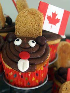 Canada Day beaver cupcakes