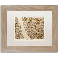 Trademark Fine Art Liverpool England Street Map 3 inch Canvas Art by Michael Tompsett, White Matte, Birch Frame, Size: 16 x 20, Brown